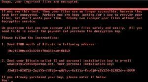 Screenshot of a system compromised by Nyetya